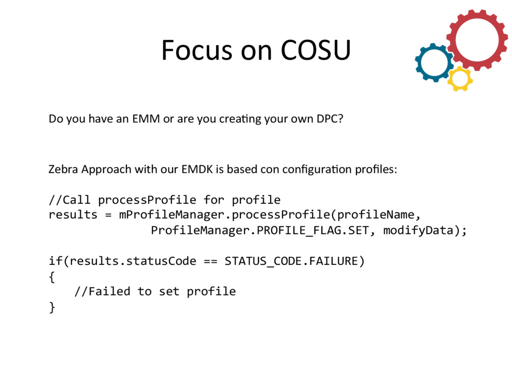 Focus on COSU  Do you have an...