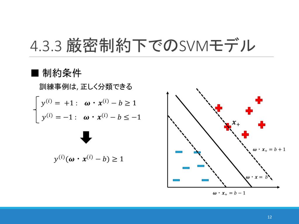 4.3.3 厳密制約下でのSVMモデル 12 ■ 制約条件 訓練事例は, 正しく分類できる (...