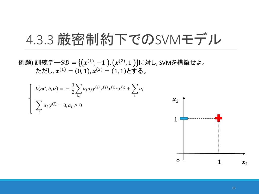 4.3.3 厳密制約下でのSVMモデル 16 例題) 訓練データ = (%), −1 , ()...