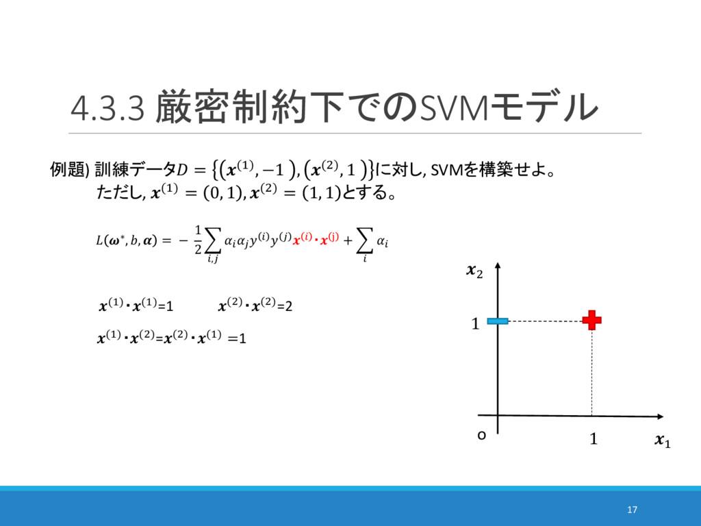 4.3.3 厳密制約下でのSVMモデル 17 例題) 訓練データ = (%), −1 , ()...