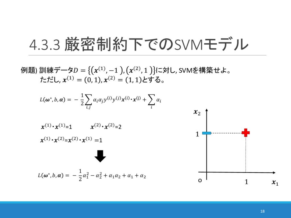 4.3.3 厳密制約下でのSVMモデル 18 例題) 訓練データ = (%), −1 , ()...