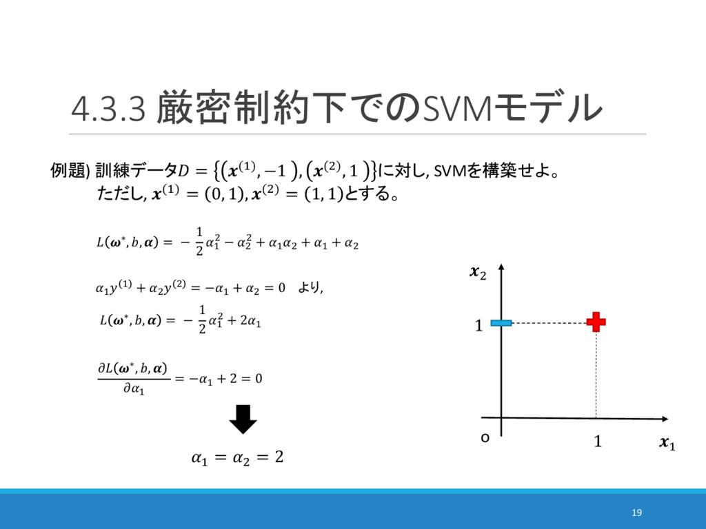 4.3.3 厳密制約下でのSVMモデル 19 例題) 訓練データ = (%), −1 , ()...