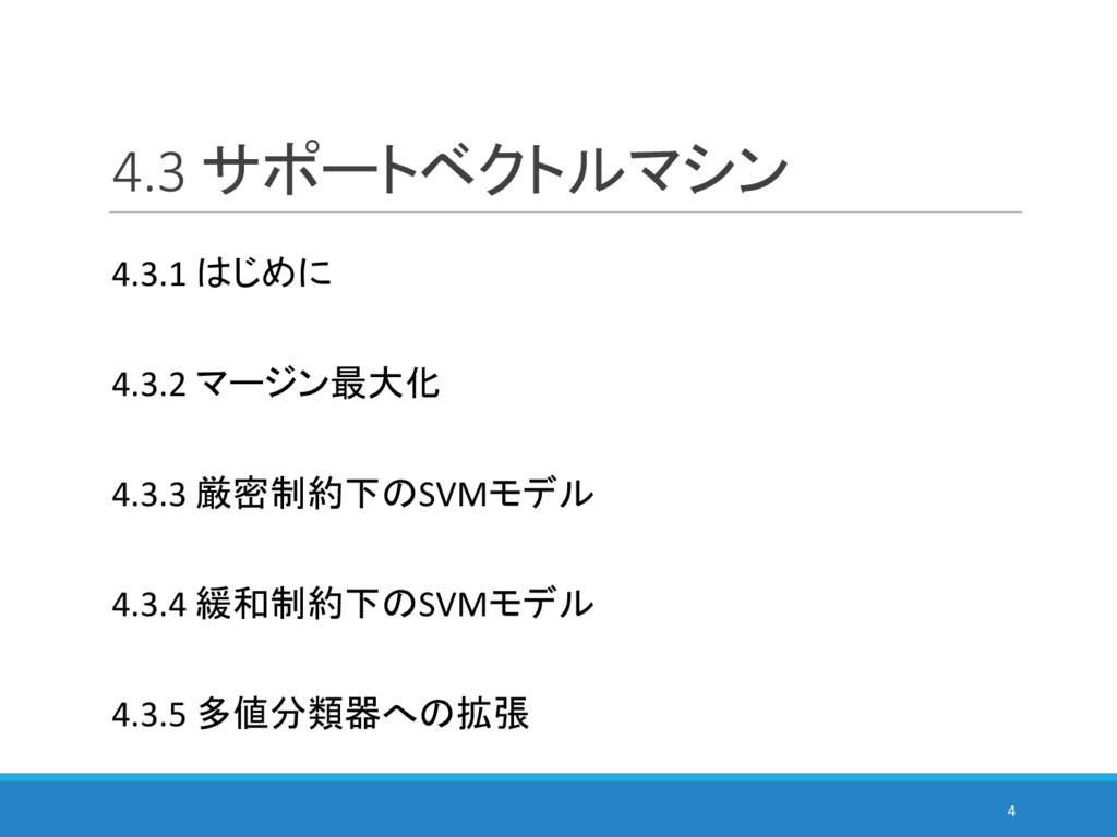 4.3 サポートベクトルマシン 4 4.3.1 はじめに 4.3.2 マージン最大化 4.3....