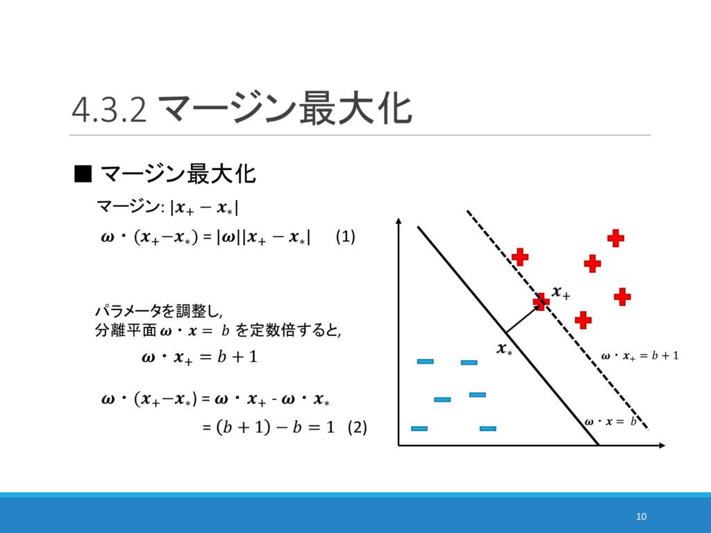 4.3.2 マージン最大化 10 ■ マージン最大化 6 マージン: |6 − ∗ | ・(6...