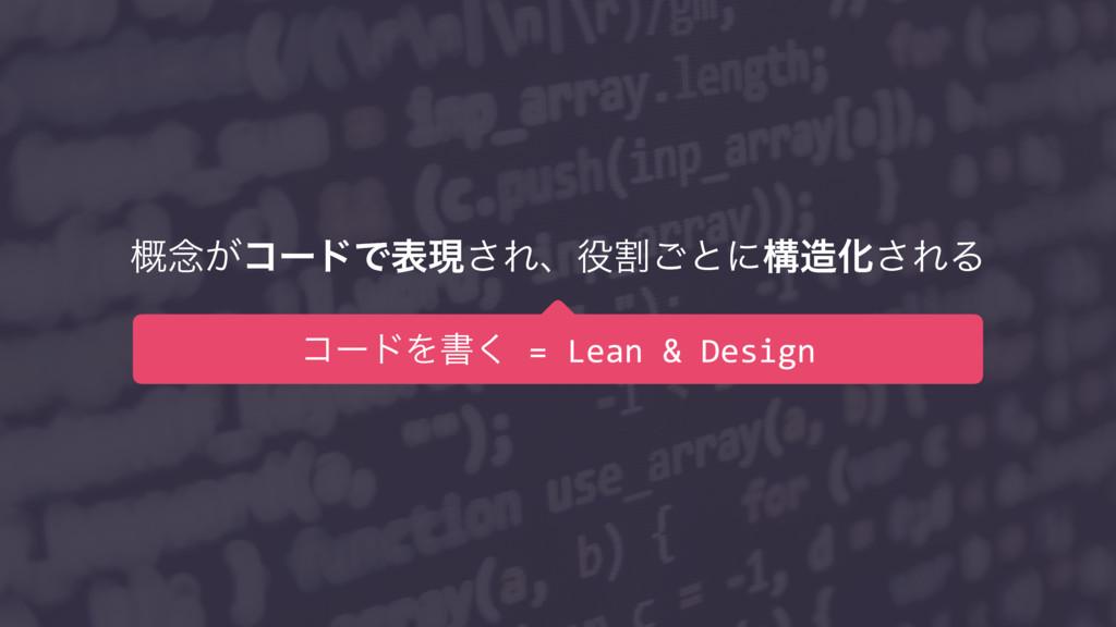 ֓೦͕ίʔυͰදݱ͞Εɺׂ͝ͱʹߏԽ͞ΕΔ ίʔυΛॻ͘ = Lean & Design