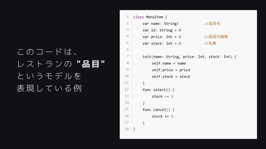 """このコードは、 レストランの """"品目"""" というモデルを 表現している例"""