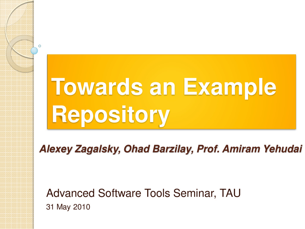Towards an Example Repository Advanced Software...