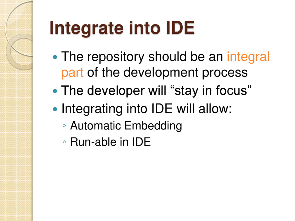 Integrate into IDE  The repository should be a...
