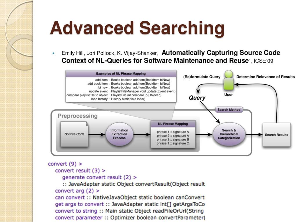 Advanced Searching  Emily Hill, Lori Pollock, ...