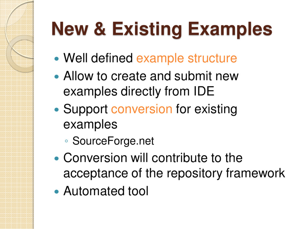 New & Existing Examples  Well defined example ...