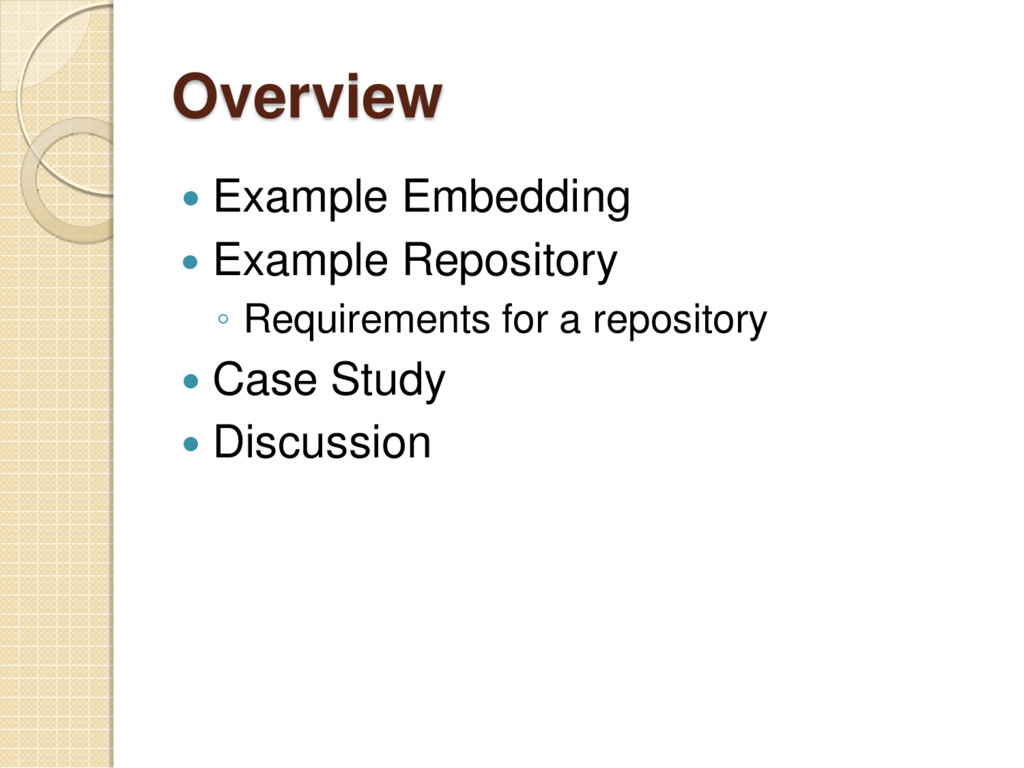 Overview  Example Embedding  Example Reposito...