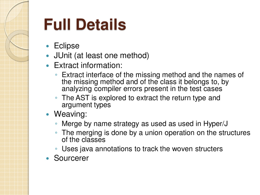 Full Details  Eclipse  JUnit (at least one me...