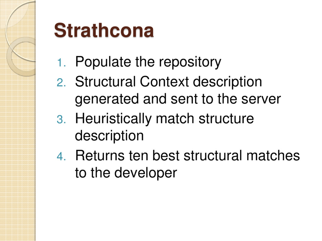 Strathcona 1. Populate the repository 2. Struct...