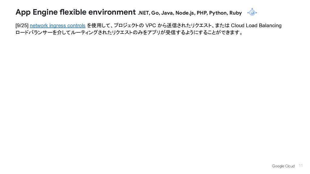[9/25] network ingress controls を使用して、プロジェクトの V...