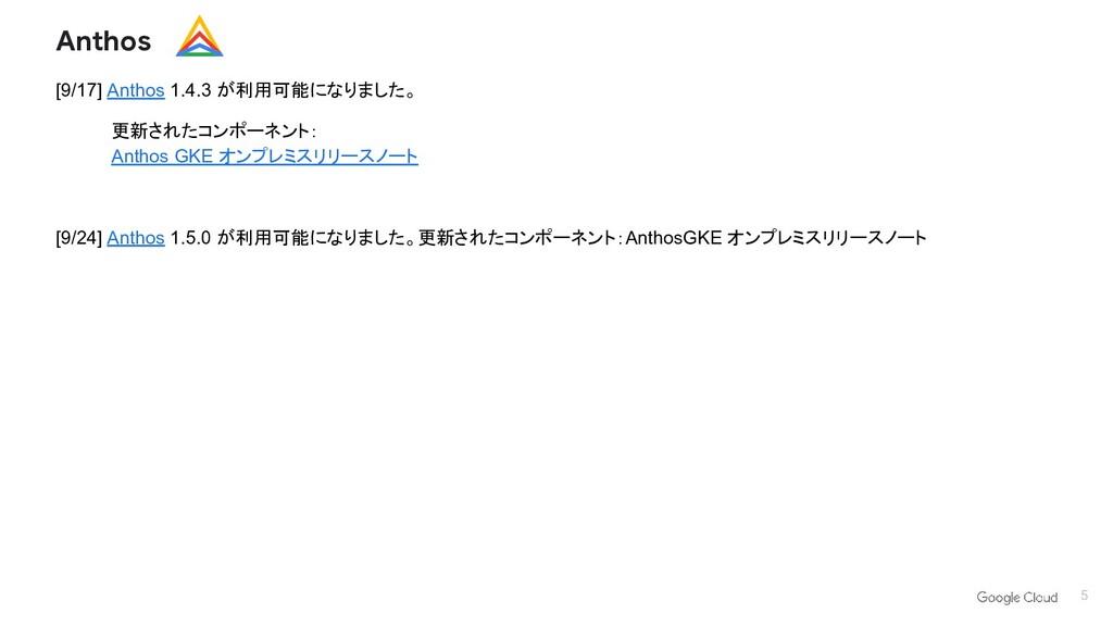 5 [9/17] Anthos 1.4.3 が利用可能になりました。 更新されたコンポーネント...
