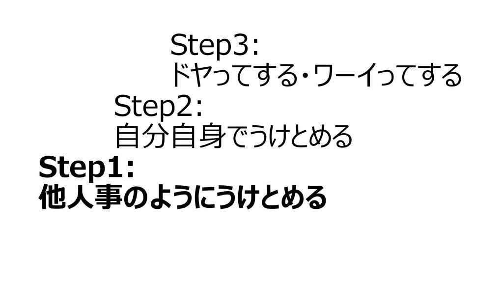 Step3: ドヤってする・ワーイってする Step2: 自分自身でうけとめる Step1: ...