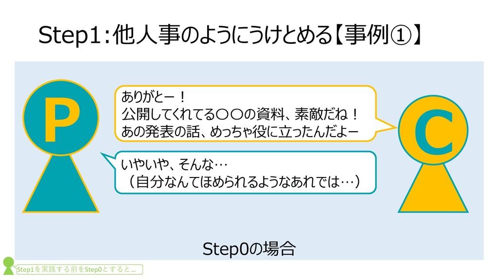 Step0の場合 Step1:他人事のようにうけとめる【事例①】 C P ありがとー! 公開し...