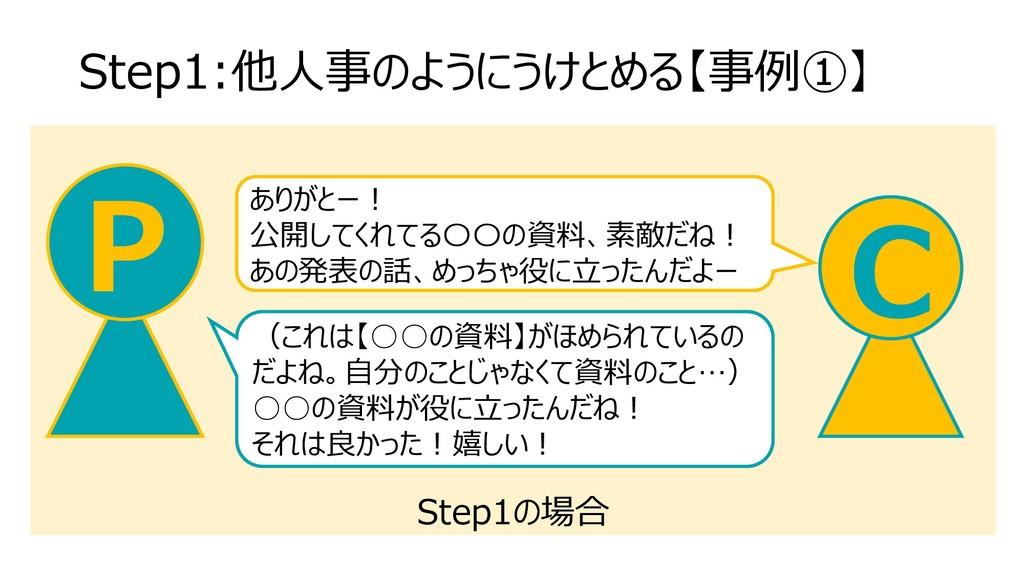 Step1の場合 Step1:他人事のようにうけとめる【事例①】 C P ありがとー! 公開し...