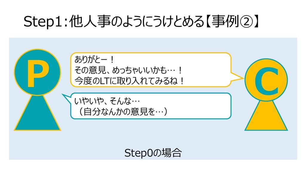 Step0の場合 Step1:他人事のようにうけとめる【事例②】 C P ありがとー! その意...