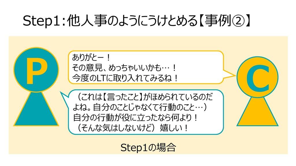 Step1の場合 Step1:他人事のようにうけとめる【事例②】 C P ありがとー! その意...