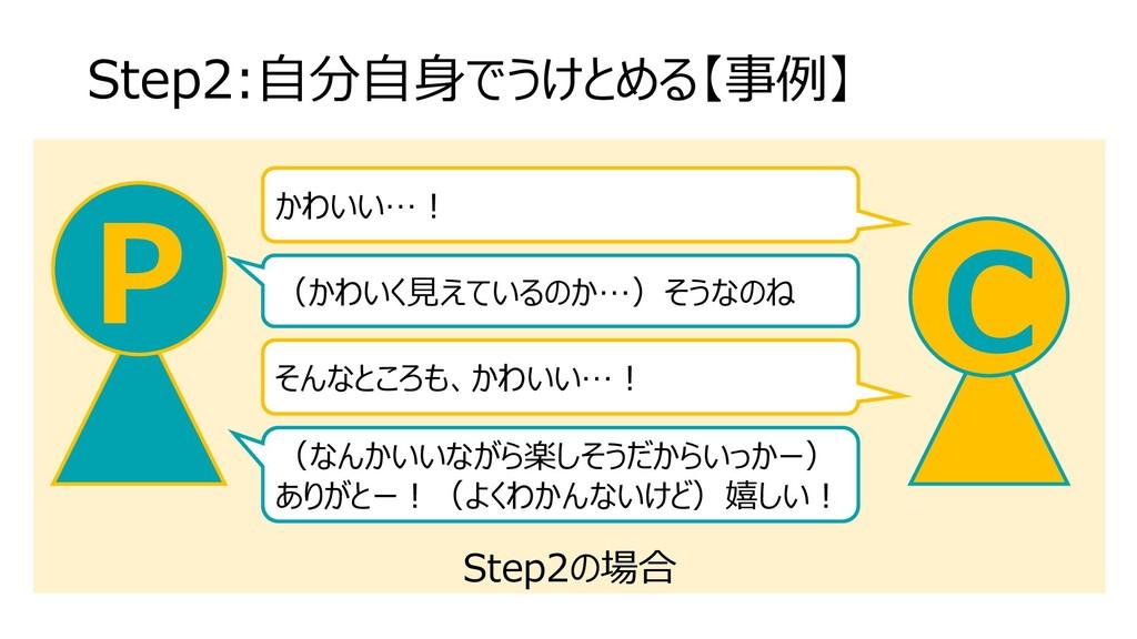 Step2の場合 Step2:自分自身でうけとめる【事例】 C P かわいい…! (かわいく見...