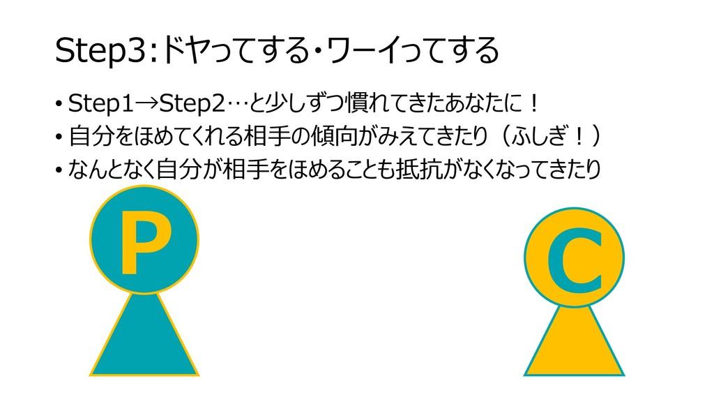 Step3:ドヤってする・ワーイってする • Step1→Step2…と少しずつ慣れてきたあな...