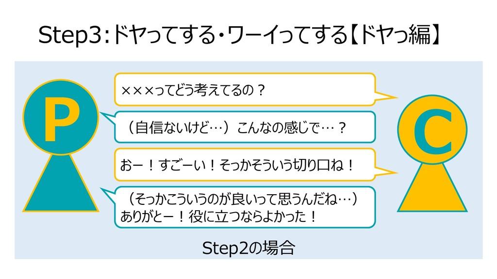 Step2の場合 Step3:ドヤってする・ワーイってする【ドヤっ編】 C P ×××ってどう...