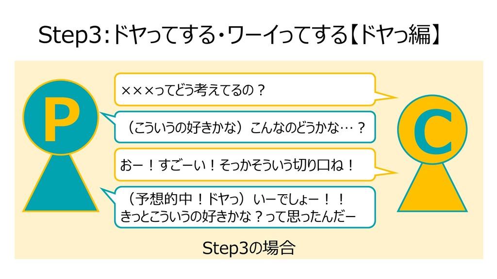 Step3の場合 Step3:ドヤってする・ワーイってする【ドヤっ編】 C P ×××ってどう...
