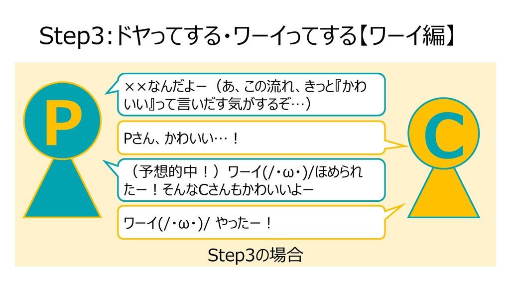 Step3の場合 Step3:ドヤってする・ワーイってする【ワーイ編】 C P Pさん、かわい...