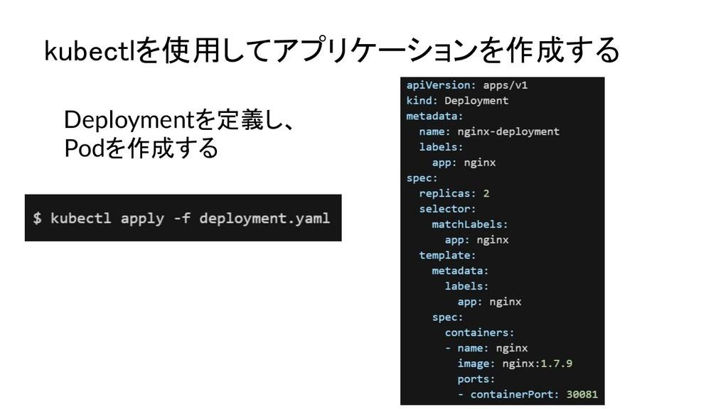 Deploymentを定義し、 Podを作成する kubectlを使用してアプリケーションを作...