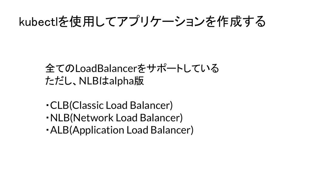 kubectlを使用してアプリケーションを作成する 全てのLoadBalancerをサポート...