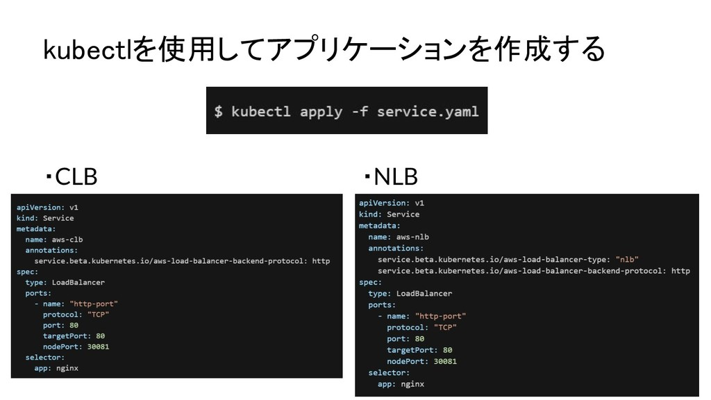 kubectlを使用してアプリケーションを作成する ・CLB ・NLB