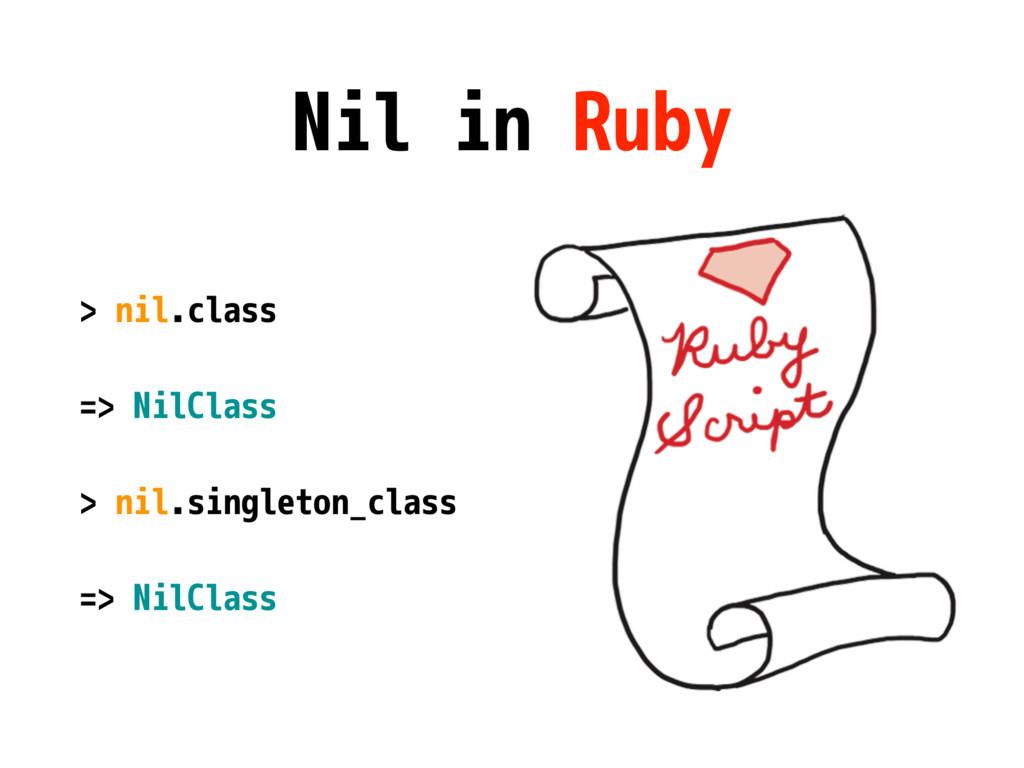 Nil in Ruby > nil.class => NilClass > nil.singl...