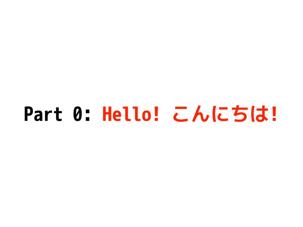 Part 0: Hello! こんにちは!
