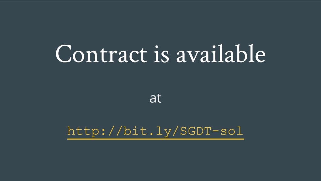 Contract is available at http://bit.ly/SGDT-sol