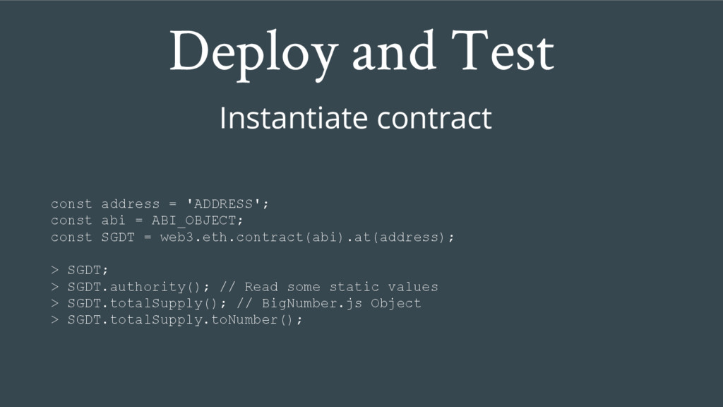 Deploy and Test Instantiate contract const addr...