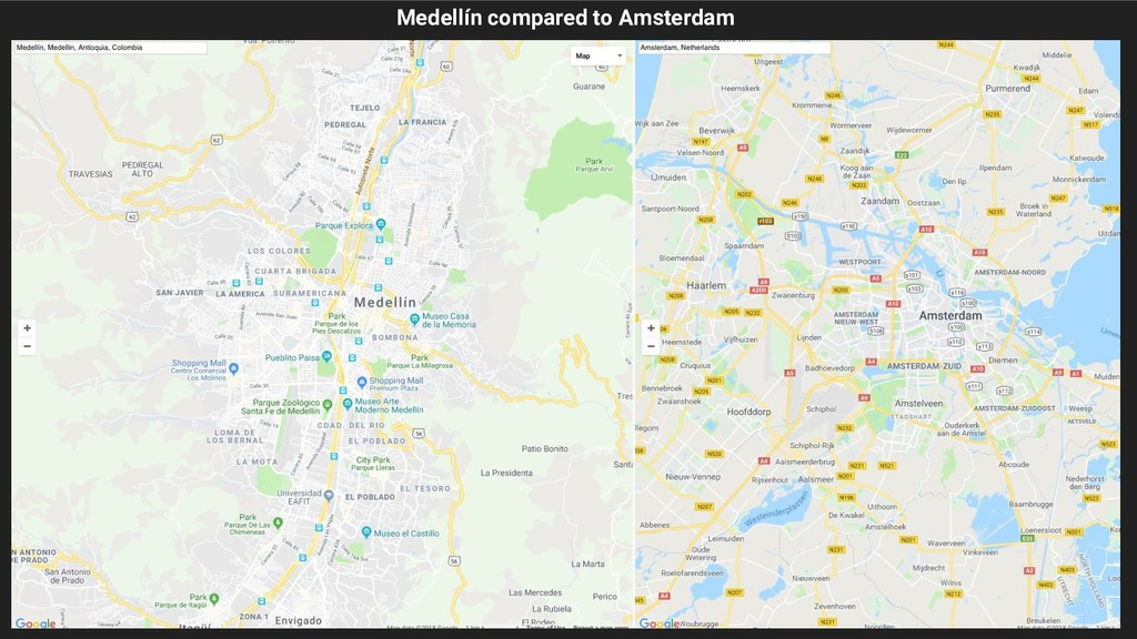 Medellín compared to Amsterdam