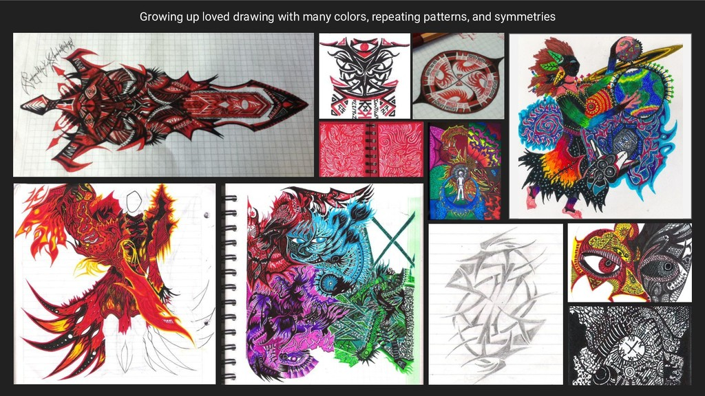 Growing up loved drawing with many colors, repe...
