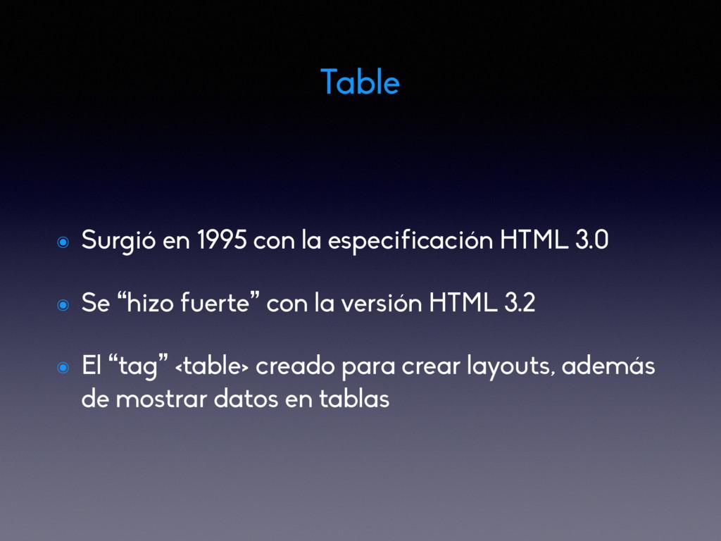 Table ๏ Surgió en 1995 con la especificación HT...