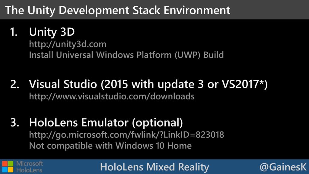 HoloLens Mixed Reality @GainesK 1. Unity 3D htt...