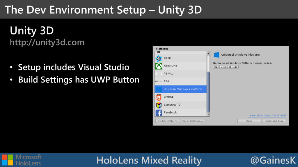 HoloLens Mixed Reality @GainesK Unity 3D http:/...