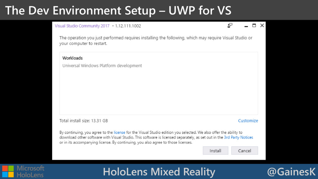 HoloLens Mixed Reality @GainesK The Dev Environ...