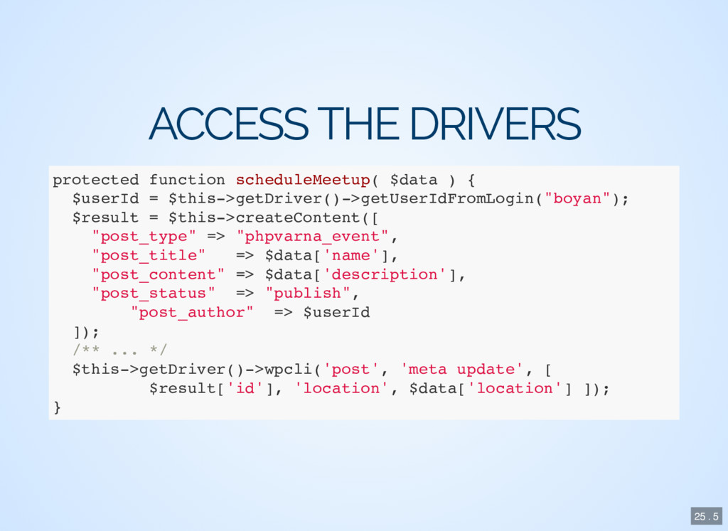 ACCESS THE DRIVERS protected function scheduleM...