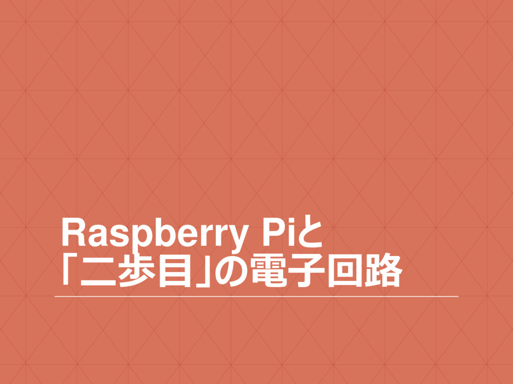 Raspberry Piと 「二歩目」の電子回路