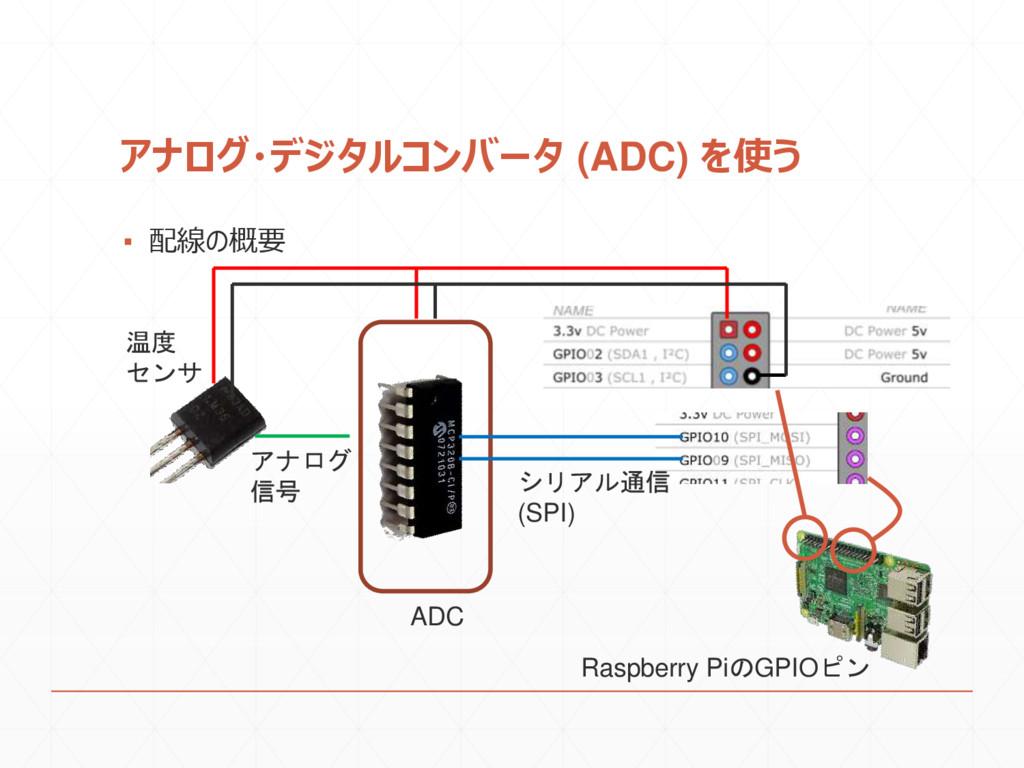 アナログ・デジタルコンバータ (ADC) を使う ▪ 配線の概要 ADC Raspberry ...