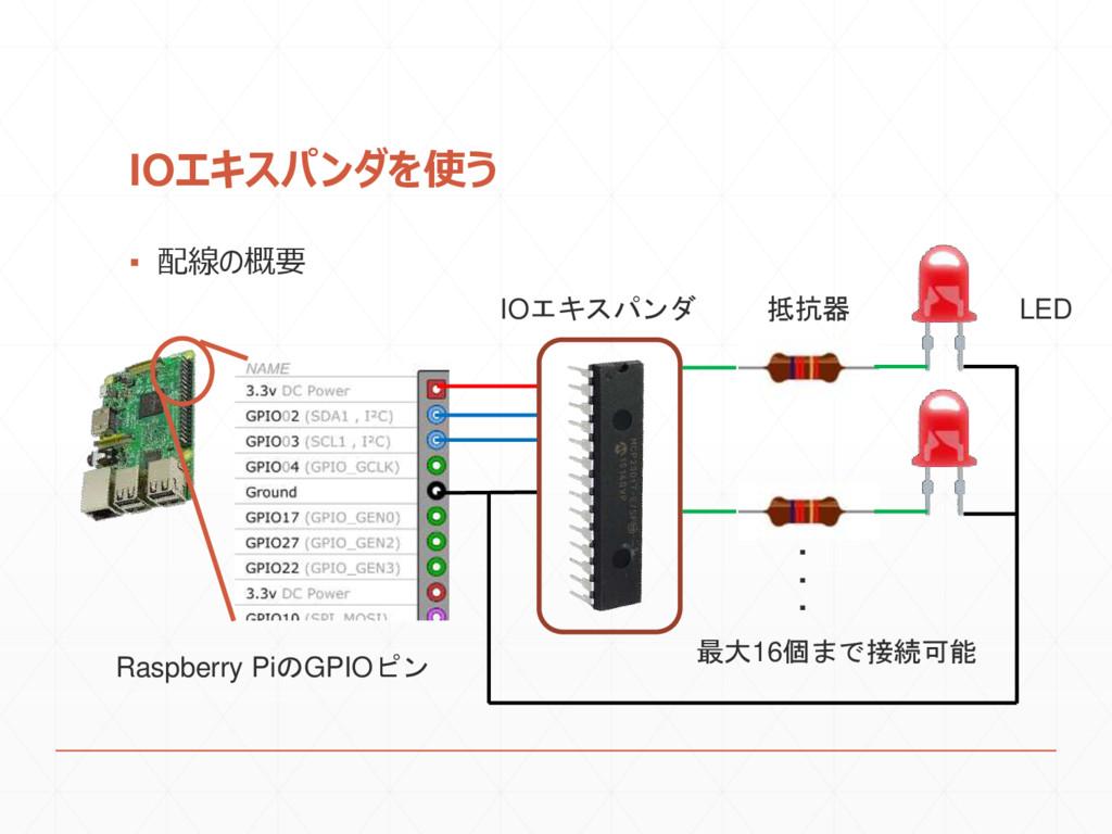 IOエキスパンダを使う ▪ 配線の概要 IOエキスパンダ 抵抗器 最大16個まで接続可能 LE...