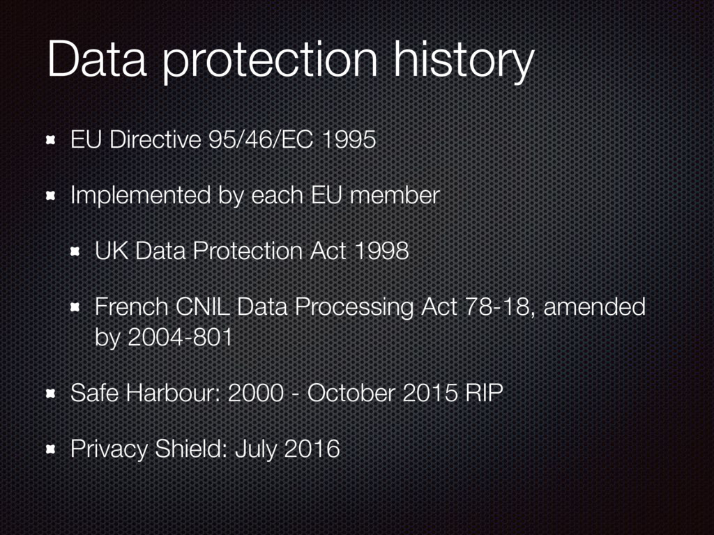 Data protection history EU Directive 95/46/EC 1...