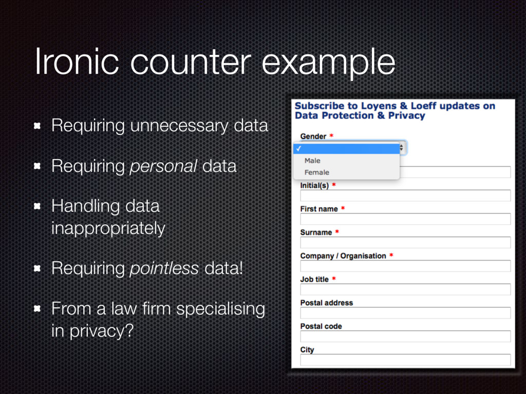 Ironic counter example Requiring unnecessary da...