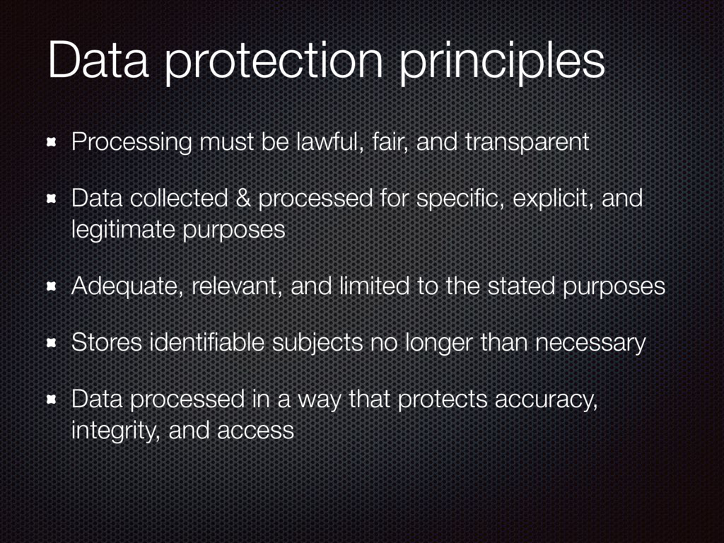 Data protection principles Processing must be l...