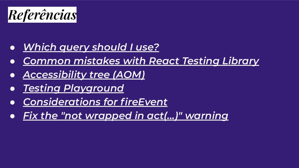 Referências ● Which query should I use? ● Commo...